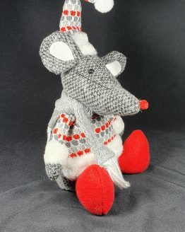 Sitting mouse with red and grey jumper