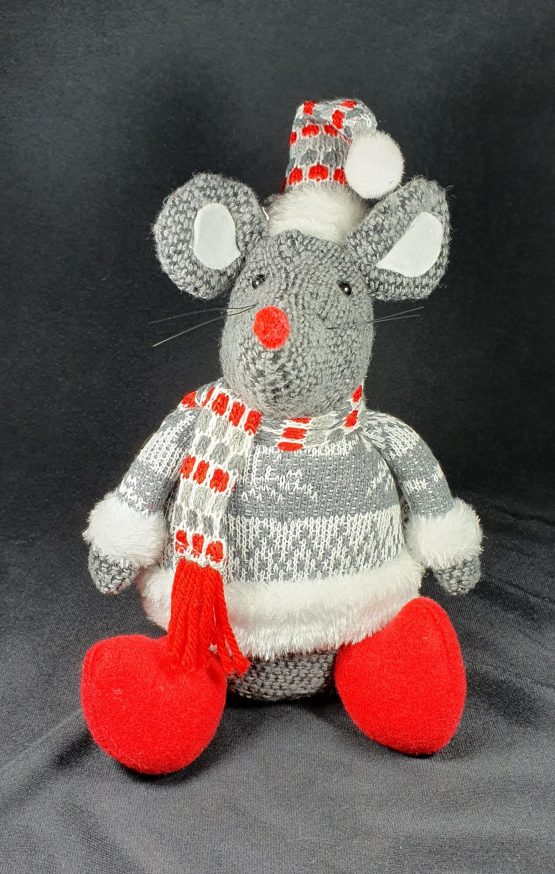 Sitting mouse with grey jumper